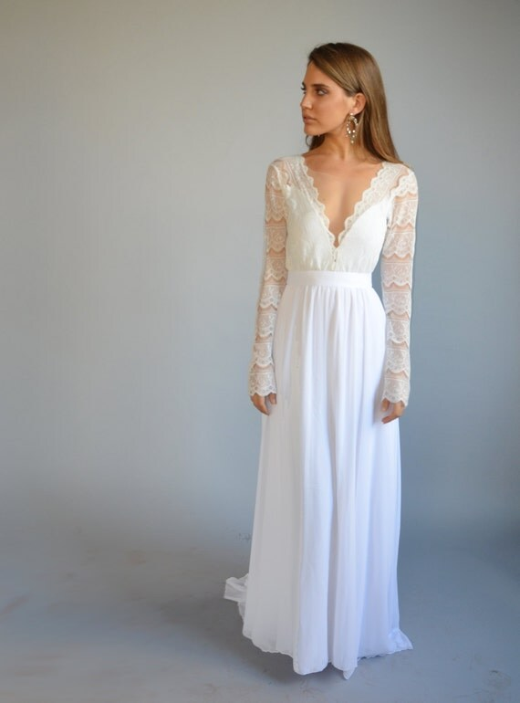 Boho wedding dress bohemian wedding dress lace wedding boho wedding dress bohemian wedding dress lace wedding dress long sleeves wedding dress deep v neck line chiffon wedding dress junglespirit Choice Image