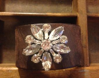 Dark Brown Leather Cuff Bracelet Adorned with Vintage Brooch madeinthedeepsouth 0372