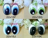 22mmx15mm Plastic Oval Comic Eyes / Safety Eyes / Printed Eyes - 4 Styles