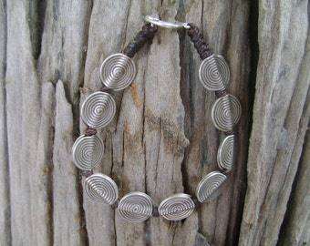 Waxed Cord Silver Beads with Silver Hook Bracelet (4)
