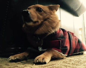 Plaid Flannel Sherpa Lined Dog Pet Coat Canine Jacket