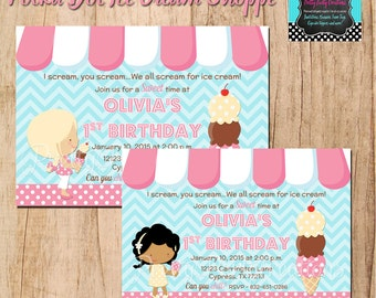 Polka Dot ICE CREAM SHOPPE invitation - You Print