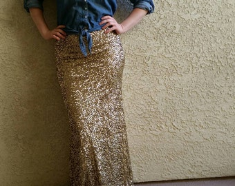 Crushed Gold Maxi -Gorgeous high quality sequins- Long sequined skirt S,M,L,XL (Handmade in LA!) Runs big