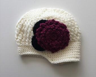 Crochet Flower Beanie 12-24 MONTHS