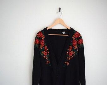 Black Cardigan Sweater with Floral Embroidered | Embroidered Knit Sweater | 80s Sweater | Button Down Slouchy Cardigan | Boyfriend Sweater