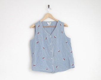 Blue Gingham Shirt. Sleeveless Blouse with Cherry Embroidered. Gingham Plaid Blouse with Lace Trim. Cherry Lolita Shirt. Summer Blouse.