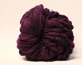 Handspun Superfine Merino Wool Thick and Thin Yarn Slub  tts(tm) Hand dyed Half-Pounder Super Bulky Black Rose 02