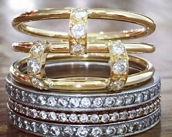 HUGESALE Diamond Ring - Yellow Gold Ring - Fine Jewelry - Stack Ring - Multi Band Ring