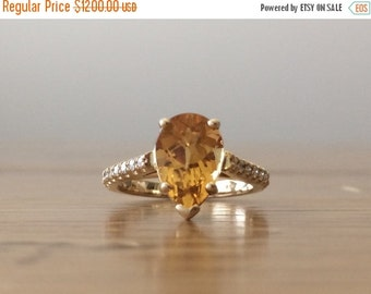 SALE Engagement Ring-Citrine Ring-Pear Shaped Engagement Ring-Gold Engagement Ring-Pear Engagement Ring-Handcrafted Jewelry