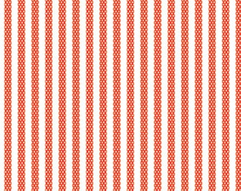 Animal ABCs Dotty Stripes in Red, Alyssa Thomas, Penguin and Fish, 100% Organic Cotton, Clothworks, Y-1690-79