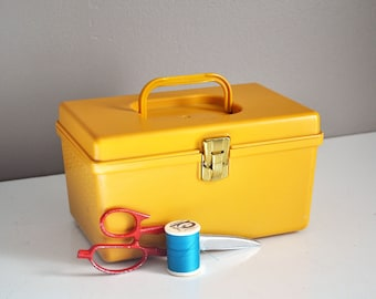 Vintage Yellow Sewing Box with Supplies