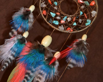 Surreal Sunset Dream Catcher- Devils Claw Dream Catcher- Beaded with Beautiful Feather Work