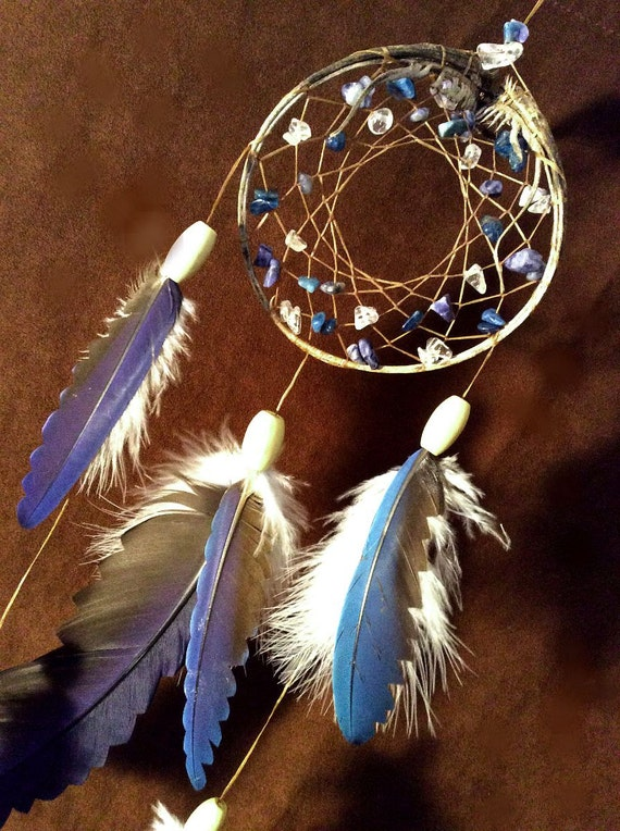 Beaded Dream Catcher- Ancient Vibrations- Devils Claw Dream Catcher- with Macaw Feathers- Made to Order