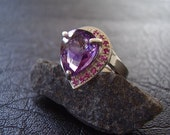 Genuine Amethyst & Ruby Ring - 925 Sterling Silver Ring - Alternative Statement Ring - Faceted Pear Teardrop Cut Amethyst - Women's Ring