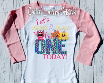 Monster | monster theme |First 1st birthday shirt - let's rawr and play i'm one today monsters | raglan | birthday shirt