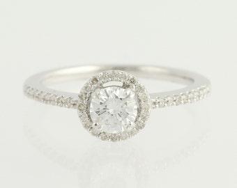 Diamond Engagement Ring - 14k White Gold Halo GIA .74ctw Unique Engagement Ring L9572