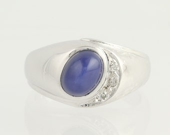 Synthetic Lindy Star Sapphire & Diamond Ring - 14k Gold Men's 2.24ctw N111
