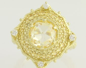 Canary Crystal, Yellow Sapphire, & Diamond Ring - 18k Gold 8.37ctw N1399