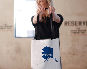 Alaska Tote Bag // Travel Gift // Home State Love // white canvas tote with black inside and handle