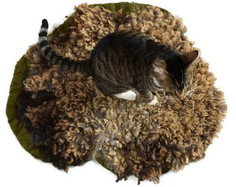 Cat Bed - Dog Bed - Cruelty Free Felted Wool Fleece Pet Rug - Dorset Suffolk Cross - Ready to Ship - Supporting US Small Farms