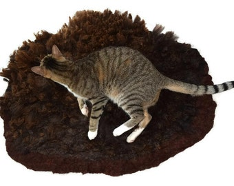 Cat Bed -  Sheep-friendly Cruelty Free Wool Fleece Felted Rug - Brown Romney - Supporting Small US Farms - Ready to Ship
