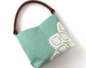 Seafoam Linen Hobo Bag with Vintage Doily