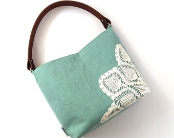 Seafoam Linen Hobo Bag with Vintage Doily