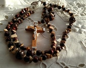 Wooden Rosary, Wood Rosary, Simple Wood Rosary, Rosary in Brown,