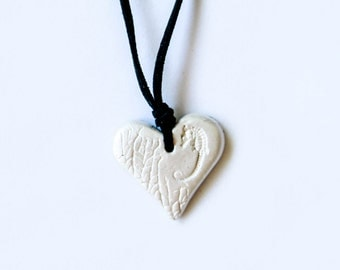 Seahorse White Pearl Heart Necklace