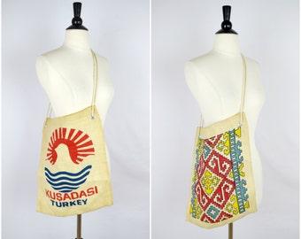 Vintage Kusadasi burlap market bag / woven tote bag