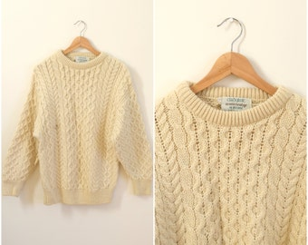 Vintage men's Irish wool pullover sweater / white heavyweight knit jumper