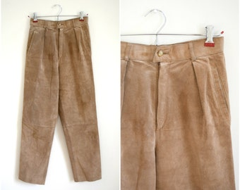 Vintage tan suede high waisted pants
