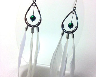White Feather Chandelier Earrings With Green Swarovski Crystal Pearls