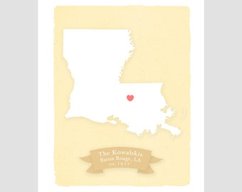 LOUISIANA art print- Family history Home decor - Custom text Wedding gift Bridal shower gift Housewarming gift Larger for wedding guest book