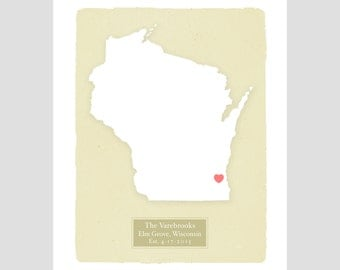 WISCONSIN - Personalized art print Home decor - Custom text Wedding gift Bridal shower gift Housewarming gift  Larger for wedding guest book