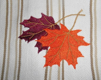 Kitchen Towel, Maple Leaves Embroidery, Fall Kitchen Towel, Cotton Towel, Housewarming, Bridal Shower Gift Idea, Hostess Gift, Striped Fall