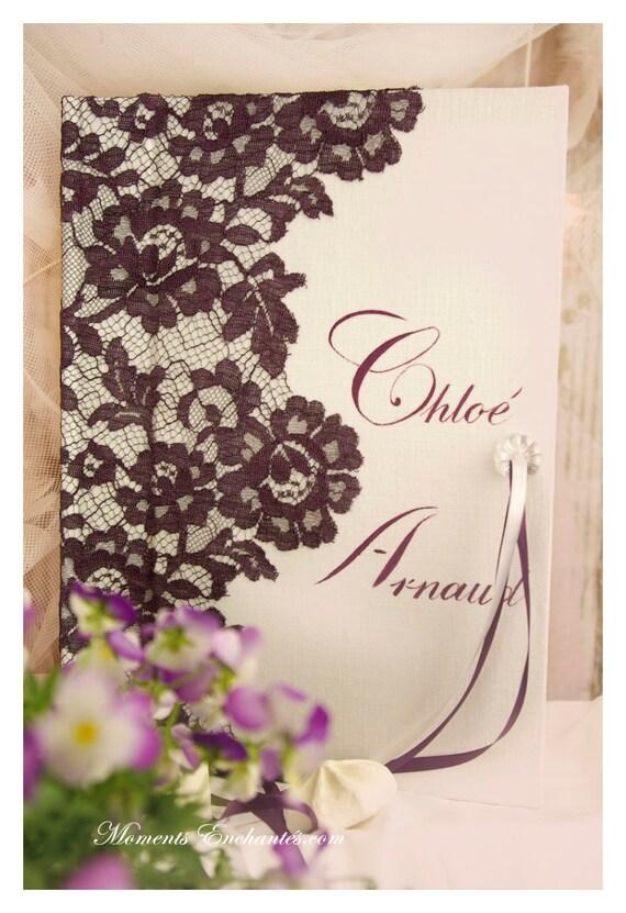 """Saint Valentin Guest book """"Nuage de Dentelle"""" lace from Le Pas de Calais french lace purple  with your name Personalized"""