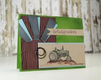 Happy Birthday Son - Husband Happy Birthday Card - Happy Birthday Father - Green Tractor Card - Handmade Card - Tractor Birthday Card