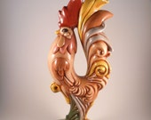 Ceramic Standing Rooster Hand Painted Decor Kitchen