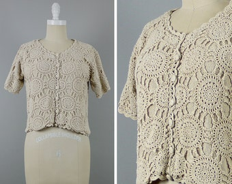 Vintage Crochet Top --> Cream Sweater --> Summer Top --> Cream Crochet Top --> Short Sleeve Sweater --> Boho Top --> Knit Top --> Cream Top