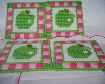 Green Apple Coaster And Holder Set