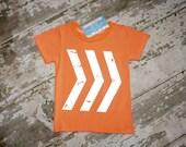 Orange geometric design top, boys clothing, photography prop, boys outfit, shirt, arrows,