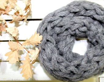 FREE SHIPPING....Autumn Trend /Hand Knit Neck Warmer :Cowl in Gray color . Winter Accessoire