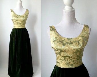 Vintage Gown, Gold Vintage Dress, Green Vintage Dress, 1960s Gown, Green Velvet Dress, Long Green Dress, Long Gold Dress, Formal 60s Dress