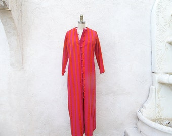 Vintage 70s Maxi, Long Sleeve Coat Dress, 1970 Striped Hippie Robe, Magenta and Tangerine Loungewear