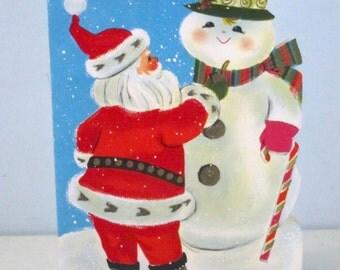 Vintage 1960's Hallmark Christmas Card Santa and Snowman
