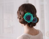 Turquoise Hair Comb Blue Wedding Hair Piece Hair Flowers Bridal Hair Flowers Blue Hair Comb Blue Rose Jewellery mother mom gifts
