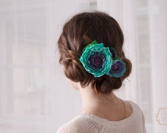 Turquoise Blue Hair Comb Flower Floral Rose Hair Piece Decor Decoration Accessory Blue Rose Jewellery Wedding Bridal Bridesmaid Hair Decor