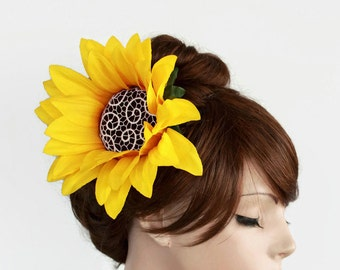 Weddings Floral Hair Fascinator, Bridal Flower Hairpiece, Sunflower Cocktail Party Headpiece Shabby Chic Hat Yellow  Summer Weddings