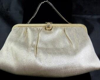 1950's Vintage Ande Gold Lame evening bag